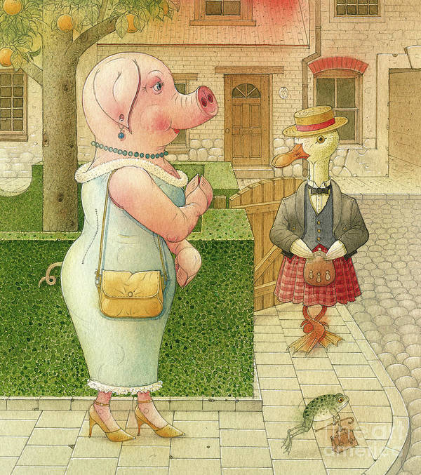 Pig Duck Frog Street Crime Detective Investigation Party Dinner Evening Art Print featuring the drawing The Missing Picture18 by Kestutis Kasparavicius