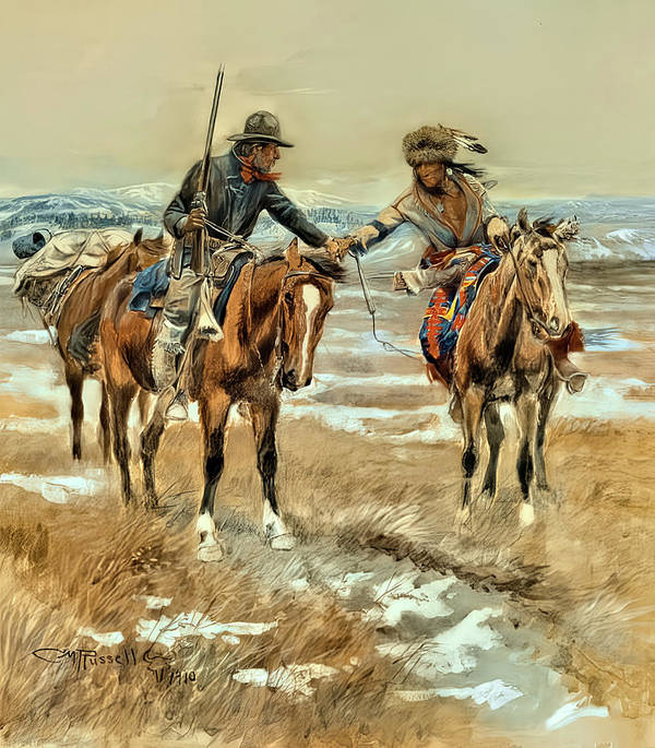 Charles M Russell WESTERN ART POSTER Mexican Hunters