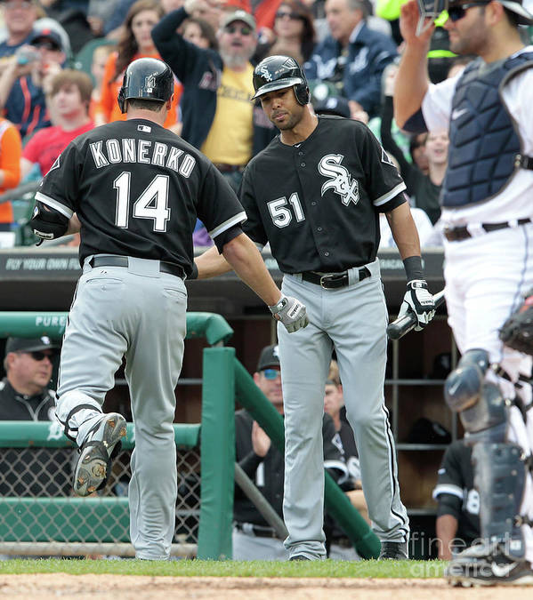People Art Print featuring the photograph Alex Rios and Paul Konerko by Leon Halip