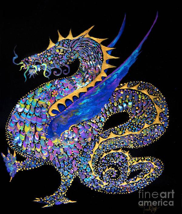 Dragon Fantasy-creature Dragon-illustration Winged-dragon Art Print featuring the painting Fancy Dragon 7333 by Priscilla Batzell Expressionist Art Studio Gallery