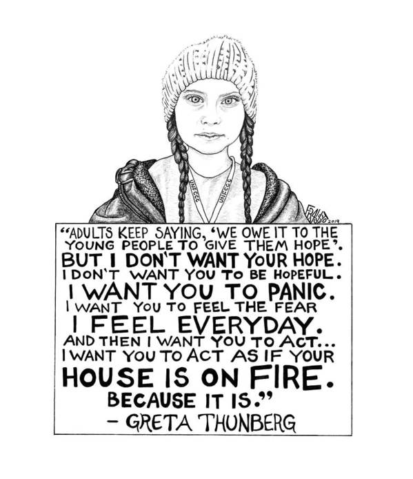 Pen And Ink Art Print featuring the drawing Greta Thunberg Drawing by Rick Frausto