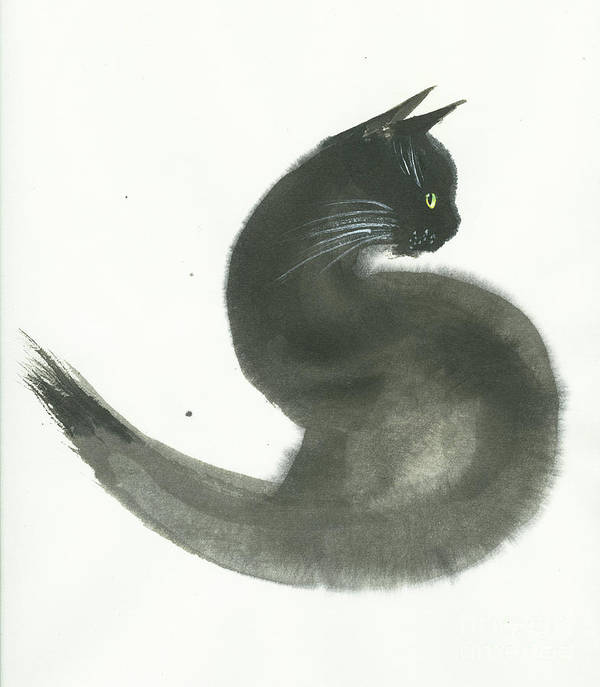 A Black Cat With Green Eyes Is Looking Intensely Ahead. It's A Simple Contemporary Chinese Brush Painting On Rice Paper. Art Print featuring the painting Keen by Mui-Joo Wee