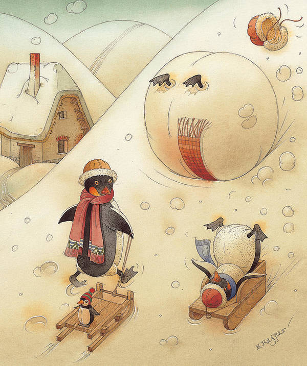 Penguins Christmas Winter Snow Sledding White Holiday Art Print featuring the painting Penguins by Kestutis Kasparavicius