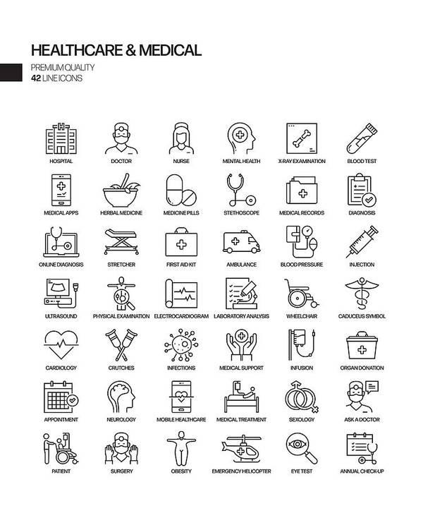 Ambulance Art Print featuring the drawing Simple Set of Healthcare and Medical Related Vector Line Icons. Outline Symbol Collection by Designer