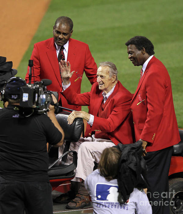 National League Baseball Art Print featuring the photograph Stan Musial, Bob Gibson, and Lou Brock by Jamie Squire