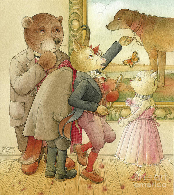 Crime Detective Investigation Picture Animals Bear Cat Goat Fox Dog Party Dinner Evening Art Print featuring the drawing The Missing Picture15 by Kestutis Kasparavicius