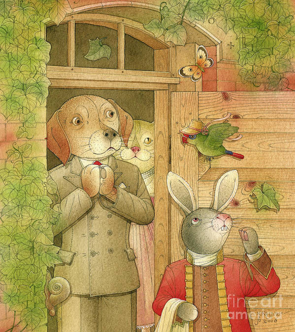 Dog Rabbit Parrot Crime Detective Investigation Party Dinner Picture Ivy Door Animals Art Print featuring the drawing The Missing Picture17 by Kestutis Kasparavicius