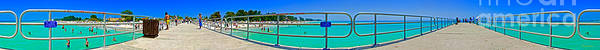 Panorama Art Print featuring the photograph Manatee Beach Pier 360 Degrees by Rolf Bertram