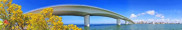 Sarasota Art Print featuring the photograph 6x1 Sarasota Skyline With Ringling Causeway Bridge by Rolf Bertram