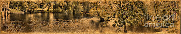 Panorama Art Print featuring the photograph Concord River At Old North Bridge by Nigel Fletcher-Jones