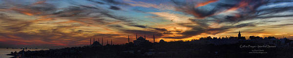 Panoramic Art Print featuring the photograph Panorama Of Istanbul Sunset- Call To Prayer by David Smith