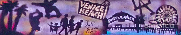 Graffiti Print featuring the painting Venice Beach To Santa Monica Pier by Tony B Conscious
