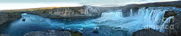 Iceland Art Print featuring the photograph Iceland Godafoss Waterfall Panorama by Gregory Dyer