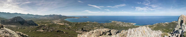 Ancient Art Print featuring the photograph Panoramic View Across Calvi Bay And Revellata In Corsica by Jon Ingall