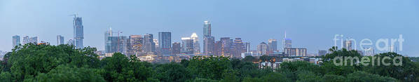 Austin Art Print featuring the photograph Austin Texas Building Skyline After The The Lights Are On by PorqueNo Studios