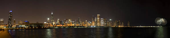 3scape Photos Art Print featuring the photograph Beautiful Chicago Skyline With Fireworks by Adam Romanowicz