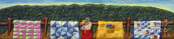 Mother Daughter Art Print featuring the mixed media Quilted Harvest by Anne Klar