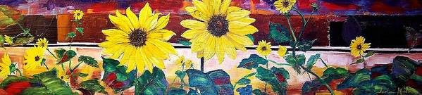Sunflowers Art Print featuring the painting Sunflowers And Train by Andreia Medlin