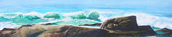 Seascape Art Print featuring the painting Widescreen Wave by Ken Meyer