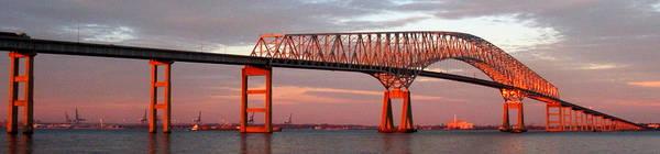 Francis Scott Key Art Print featuring the photograph Francis Scott Key Bridge At Sunset Baltimore Maryland by Wayne Higgs