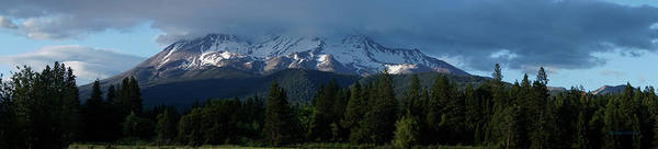 Panorama Art Print featuring the photograph Mt Shasta Under Clouds - Panorama by Mick Anderson