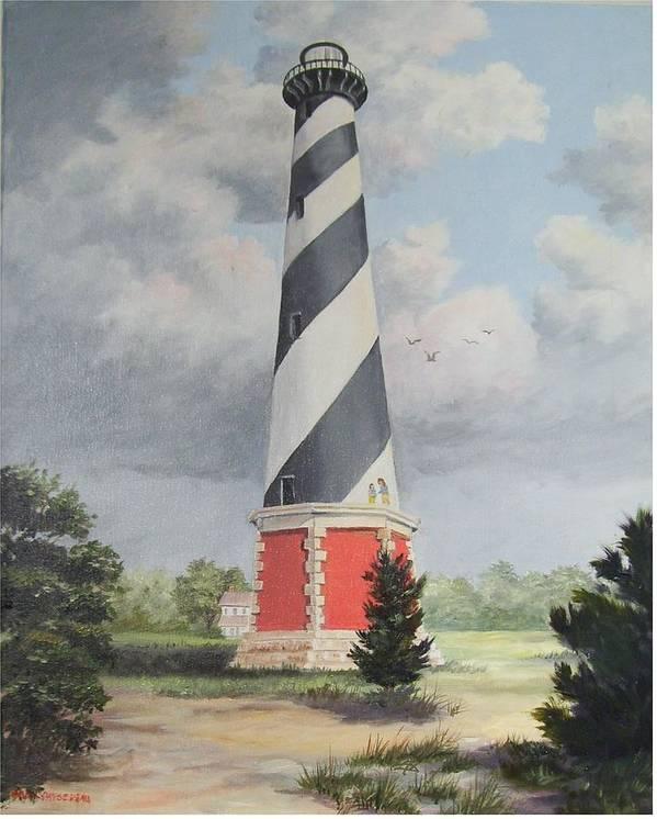 Sunrise Clouds Art Print featuring the painting Cape Hatteris Sunrise by Wanda Dansereau