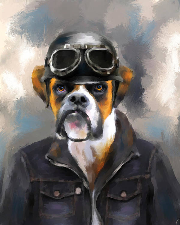 Art Art Print featuring the painting Chic Boxer Aviator by Jai Johnson