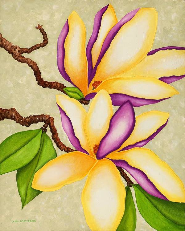 Two Magnolias Art Print featuring the painting Magnolias by Carol Sabo