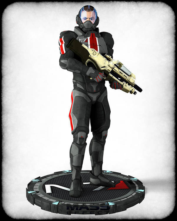 Game Art Print featuring the digital art Mass Effect - N7 Soldier by Frederico Borges