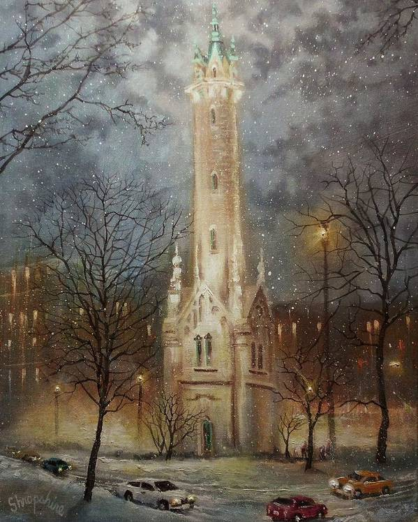 City At Night Art Print featuring the painting Old Water Tower Milwaukee by Tom Shropshire