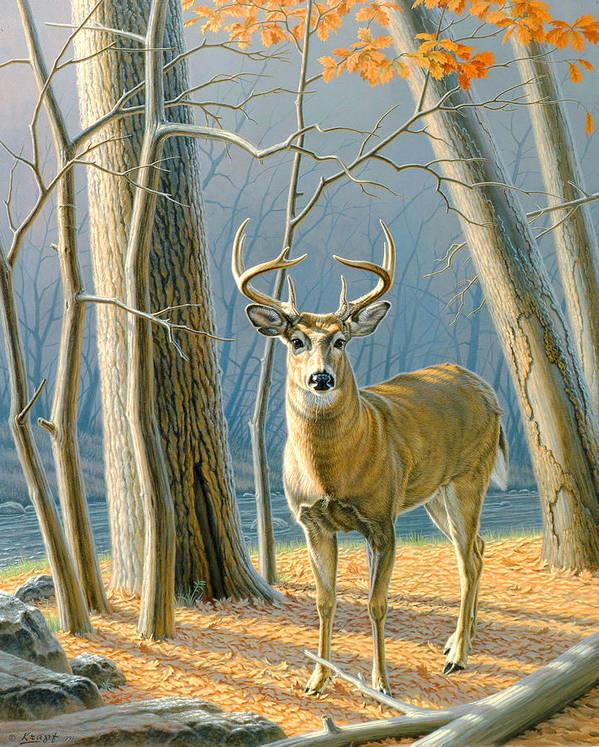 Wildlife Art Print featuring the painting Pre-flight- Whitetail Buck by Paul Krapf