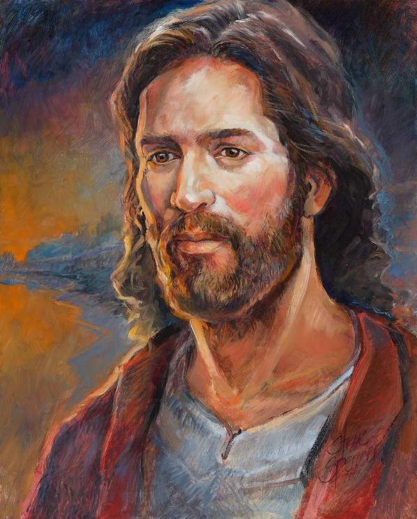 Religious Art Print featuring the painting The Savior by Steve Spencer