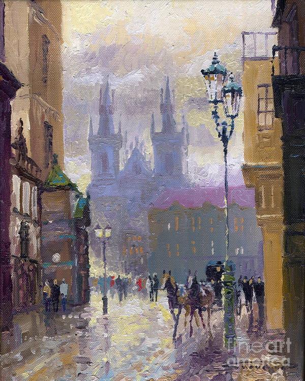Oil On Canvas Art Print featuring the painting Prague Old Town Square by Yuriy Shevchuk