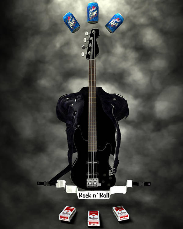 Rock N Roll Art Print featuring the digital art Rock N Roll Crest-the Bassist by Frederico Borges