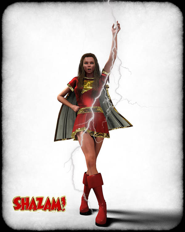 Super Heroe Print featuring the digital art Shazam - Mary Marvel by Frederico Borges
