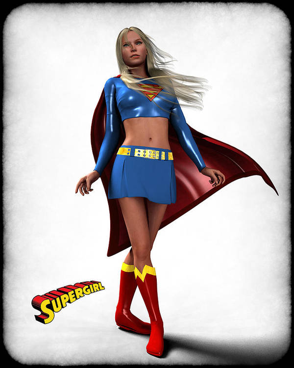 Super Heroe Print featuring the digital art Super Girl by Frederico Borges