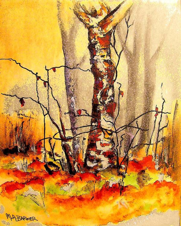 Birch Tree Art Print featuring the painting Vibrant Birch by Mary ann Barker