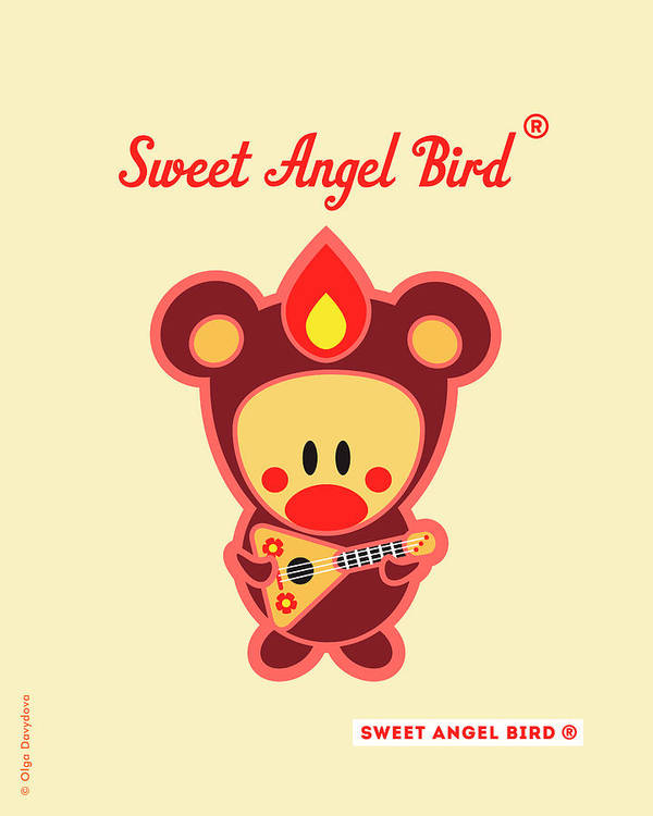 Cute Art Art Print featuring the digital art Cute Art - Sweet Angel Bird In A Brown Bear Costume Playing A Balalaika Wall Art Print by Olga Davydova