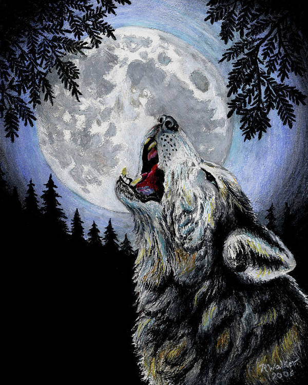 Wolf Art Print featuring the pastel Ghost Wolf by Robert M Walker