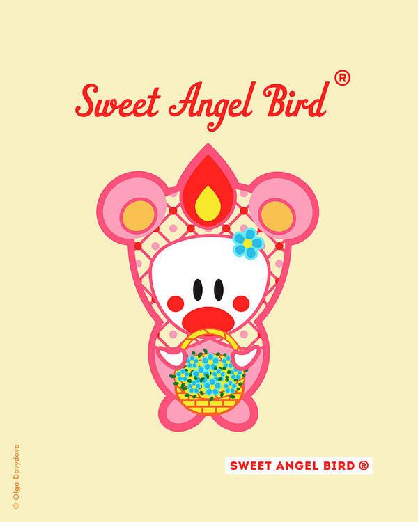 Cute Art Art Print featuring the digital art Cute Art - Sweet Angel Bird In A Pink Bear Costume Holding A Basket Of Little Blue Flowers Wall Art Print by Olga Davydova