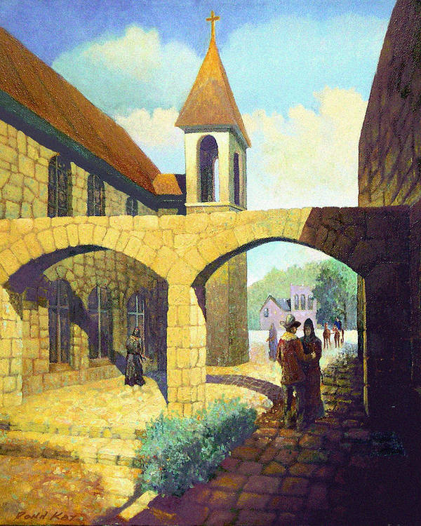 Texas New Mexico Missions Cowboy Horses Southwestern Giclee Prints Churches Art Print featuring the painting A Brothers Farewell by Donn Kay
