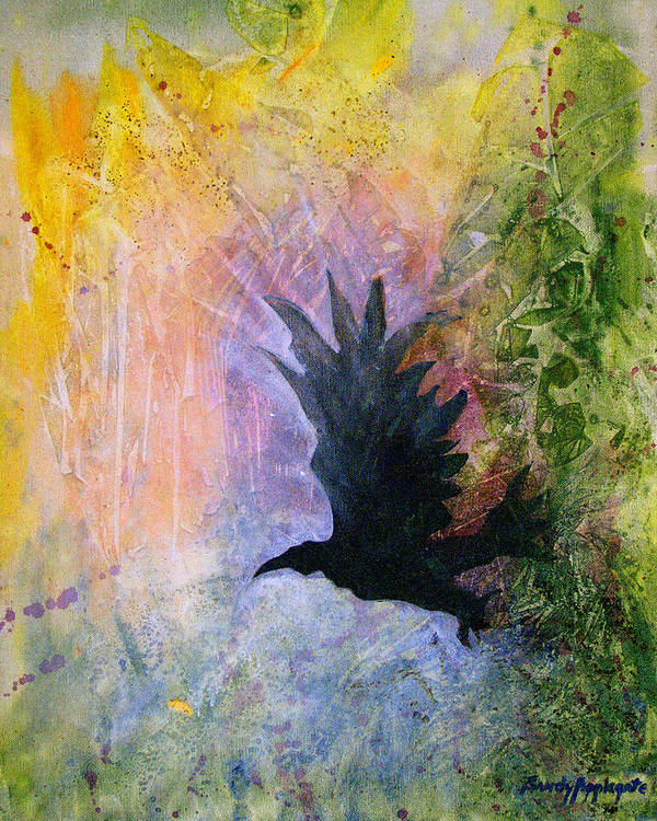 Raven Art Print featuring the painting A Stately Raven by Sandy Applegate