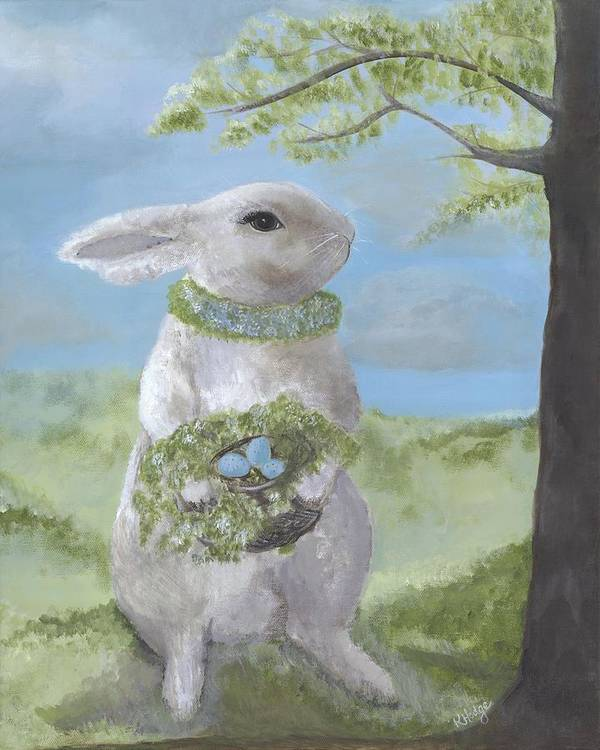 Bunny Art Print featuring the painting Basil Bunny by Kimberly Hodge