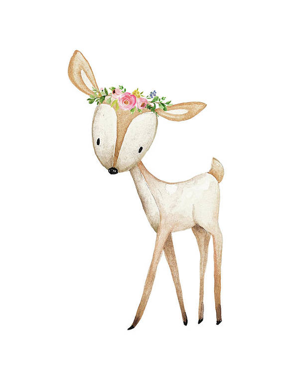 Boho Woodland Deer Watercolor Floral Decor Art Print By