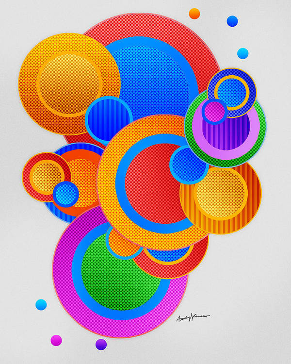 Abstract Print featuring the digital art Circles by Anthony Caruso