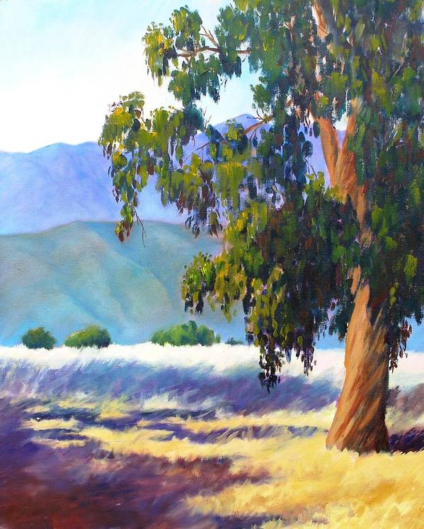 Tree Art Print featuring the painting Eucalyptus On The Bluffs by Dorothy Nalls