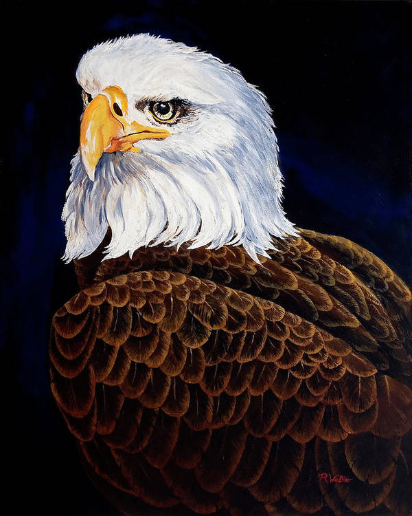 Eagle Art Print featuring the painting Eye Of The Eagle by Robert M Walker