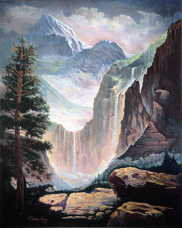 Colorado Rockies Waterfalls Rocks Southwest Landscapes Giclee Prints Art Print featuring the painting High In The Rocky Mountains by Donn Kay