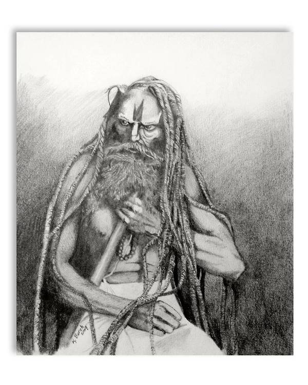 Holy Man Art Print featuring the drawing Holy Man by Kerry Burch