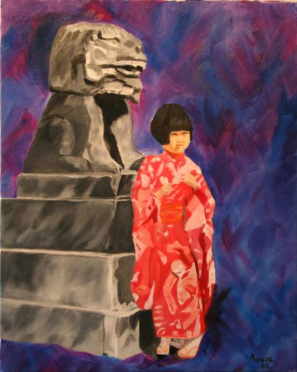 Figurative Art Print featuring the painting Japanese Girl With Chinese Lion by Marilyn Tower